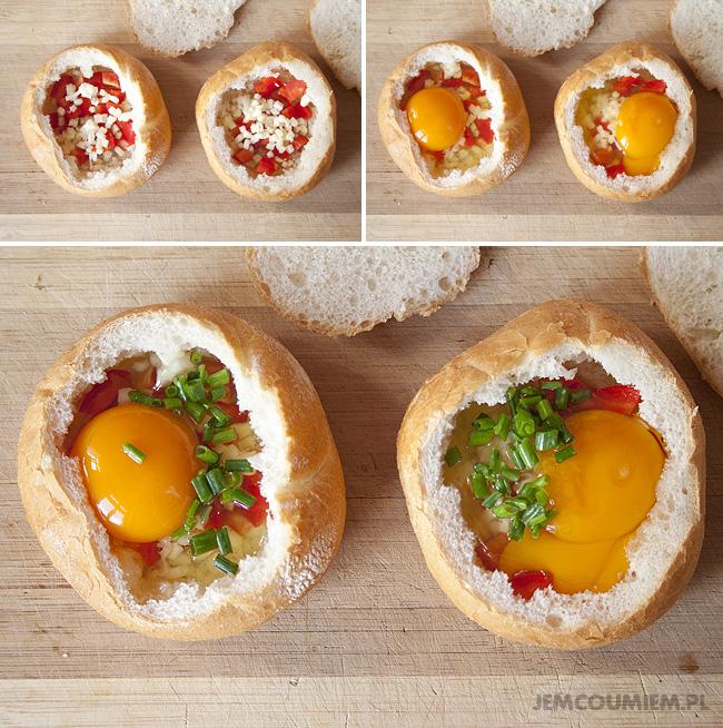 Zapiekane bułki z jajkiem | Jem Co Umiem